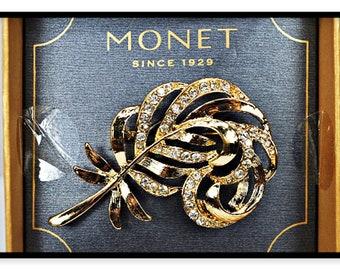 Leaf Rhinestone Brooch Signed - Monet Like New In Box - Pin-4024a-04022018000k