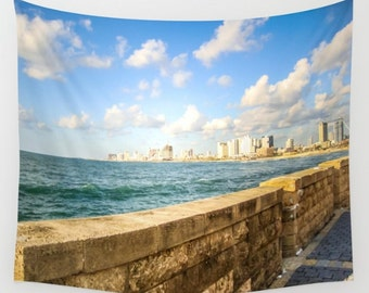 Sunset Tapestry Old Jaffa Tapestry Sunshine Tapestry Photo Tapestry Sea View Tapestry Wall Hanging Sky Tapestry Clouds Tapestry