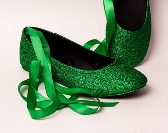 Glitter - Kelly Green Ballet Flat Slipper Custom Shoes with Ankle Ribbons