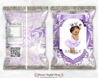 Chip Bag Purple Lavender Silver Glamour Girl   Medium Skin Tone Princess Baby Ballerina Tutu   Digital Instant Download