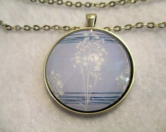 Delicate Pale Blue White WILDFLOWERS Cabochon PENDANT Necklace
