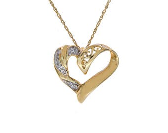 0.01 Carat Round Diamond Heart Pendant on Rolo Link Chain 10K Yellow Gold