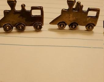Vintage 1950's Goldtone train cuff links