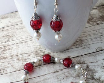Red Jewelry Set, Silver Jewelry Set, Bracelet and Earring Set, Red Earrings, Red Bracelet, Glass Bead Bracelet, Glass Bead Earrings, Silver
