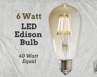 LED Edison Light Bulb   6 Watt   40 Watt Equal   Vintage Bulb   Lamp Supplies   LED Filament Bulb   Edison Style