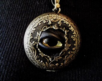 Sightmares Golden Fleece Evil Eye Steampunk Exploded Victorian 1/2 Pendant Necklace by Dr Brassy Steamington