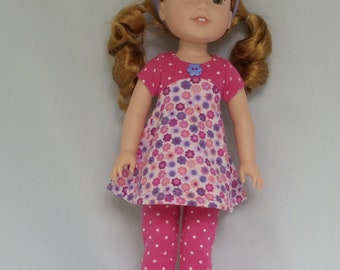 Pretty Pink and Purple Flowers  Mini Tunic Doll Dress and Leggings Handmade To Fit 14.5 Inch Dolls Like Wellie Wishers
