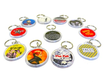 "ANY TWO Indie Band Keyrings Choose Two from this Array of Indie Bands - mostly UK - 1.75"" Keychains"