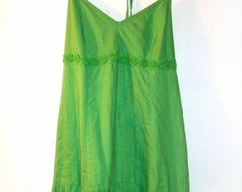 J. CREW Green Dress. Size 4 .....Halter Top ...Empire...Two Tiered Skirt