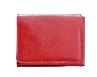 Valentine's gift, men's red leather wallet, monogrammed red trifold wallet - the Casino