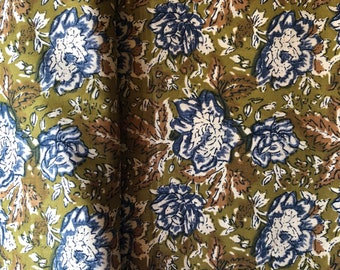 Indian cotton fabric by the yard, Bohemian Rhapsody Print, Henna Green floral print, Boho fashion print, sewing quilting crafting fabric