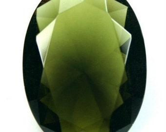 Glass Jewel Oval 30x22mm Faceted Diamond Cut Pointed Back Unfoiled - Dark Olive BZ09 - 1 pc