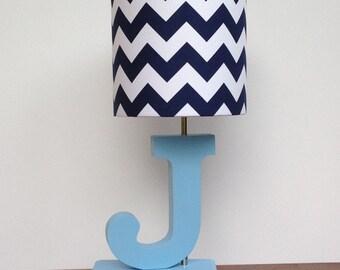 Handmade small bluewhite chevron lamp shade nursery medium navy bluewhite chevron drum lamp shade nursery or boys lamp shade aloadofball Choice Image