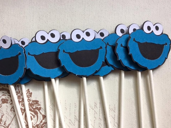 12 Cute Cookie Monster Cupcake Toppers First Birthday Party Decorations