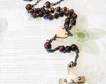Antique 5 Decade Horn Rosary/vintage rosary/rosary beads/prayer beads/five decade rosary/cross/cross necklace/crucifix/Ireland rosary