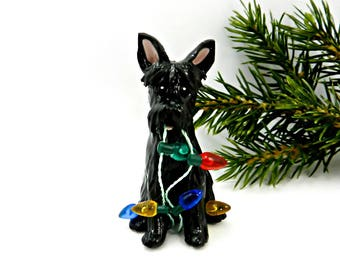 Scottish Terrier Black Porcelain Christmas Ornament Figurine Lights
