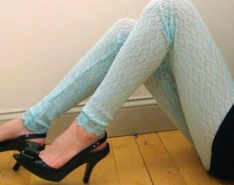 Blue Lace Leggings