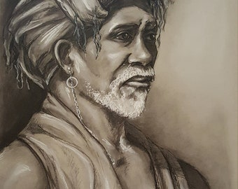 Portrait of an African man - Charcoal Drawing ORIGINAL