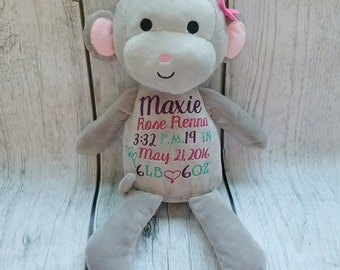Monkey Birth Announcement, Stuffed Animal Birth Announcement, New Baby Gift, New Mommy Gift, Nursery Decor, Birth Announcement, Baby Shower