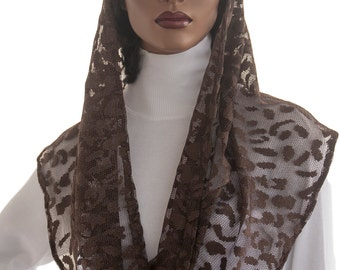 Kaatnu Veil™ Brown Mesh Knit Metallic Highlights Devotional Veil Liturgical Veil Catholic Christian Veil Mass Veil Prayer Shawl Handmade