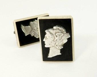 Art Deco Mercury Dime Earrings Black & White Celluloid Screw Back Earrings