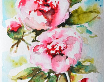 Original Watercolor Flower Painting, Pink Roses, Impressionist Floral Art 6x8 Inch