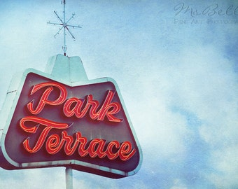 Retro Look Neon Sign Photo - Park Terrace Sign - 5 x 7 fine art print - blue red white glow theater home decor