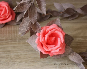 Coral Gray Wedding Garland, Paper Flower Garland, Wedding Backdrop, Aisle Decorations, Bridal Decorations, Rose Garland, Gray Wedding Decor