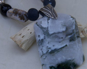 Dramatic necklace with white black gray cream agate pendant  sterling silver, One of a Kind
