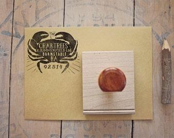 Crab Return Address Stamp, Custom Beach Wedding Invitation Rubber Stamp