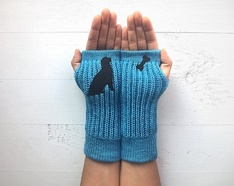 Dog Gloves, Mother's Day Gift, Dog Lover Gift, Women Gloves, Women Mittens, Gift For Her, Long Gloves, Love Gloves, Winter Sale, Pet Gift