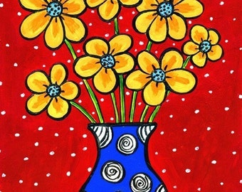 Yellow Flowers Blue Vase -  Shelagh Duffett Print