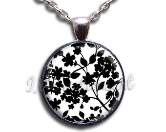 Elegant Foliage Glass Dome Pendant or with Chain Link Necklace PT116