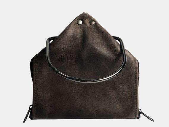 Brown leather handbag designer bag gift for mother's day small handbag wrist bag