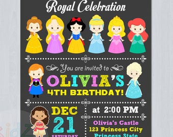Disney Princess Invitation, Disney Princess Editable Invitation, Disney Princess Birthday Invites, Thank You Tags