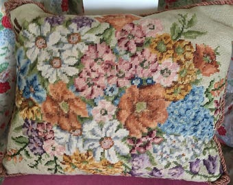 Pretty Vintage Floral Needlepoint Embroidered Cushion
