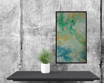 Abstract Modern Art Painting Original giclee paper print Art Painting  wall Art Living Room Art Large  green blue, white painting art print