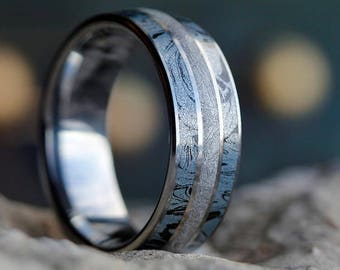 Tungsten Ring With Cobaltium Mokume, Meteorite Ring, Unique Wedding Band, Mixed Metal Jewelry