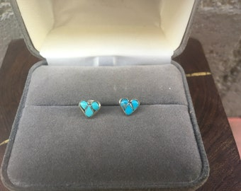Turquoise Studs Southwestern Stud Earrings Carved Indian Turquoise Heart Earring Sterling Silver Boho Southwestern Jewelry Tiny Studs