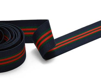 """1-1/2"""" (40mm) Elastic Stretch Band Ribbon Trim for headband, hand band and waist belt, 1 yard, Navy/Green/Red, TR-11590"""