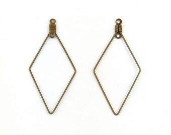 diamonds - 47mm - bronze hoop earrings 4 holders