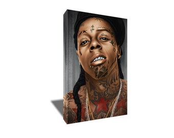 FREE SHIPPING Young Weezy Lil Wayne Face Tattoo Canvas Art