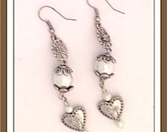 Handmade MWL pearl and heart dangle earrings. 0135