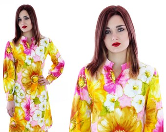 70s Mod Dress Psychedelic 60s A-line Shift Abstract Mini Bright Floral Flowers 1960s 1970s Sixties Metal Zipper Hawaiian Small S
