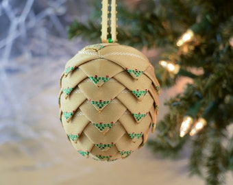 Gold Satin Christmas Ornament with Holly Design Handmade Ribbon Ball Traditional Victorian Holiday Decor Gift idea Stocking Stuffer for Mom