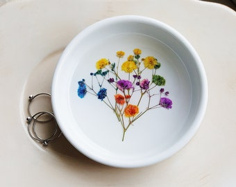Colorful Pressed Flowers Jewelry Dish, Flower Dish, Porcelain Ring Dish, Rustic Wedding Gift, Jewelry Dish
