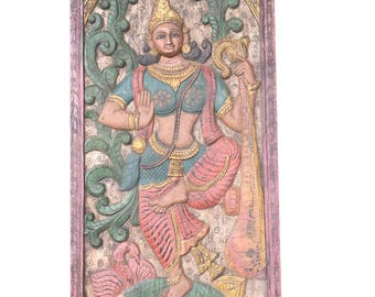 Antique wall Panel  Vintage Hand Carved Saraswati Hindu goddess of knowledge, music, arts, wisdom, learning Zen decor