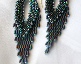 Hand Beaded Russian Leaf earrings, with sterling silver Findings