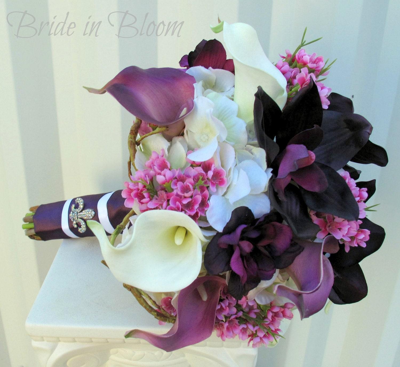 Wedding bouquet Bridal bouquet Plum purple calla lily