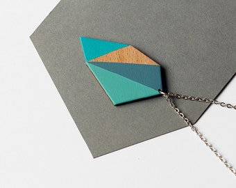 Wooden geometric modern necklace - blue, turquoise green, grey-blue, natural wood - minimalist jewelry - color blocking